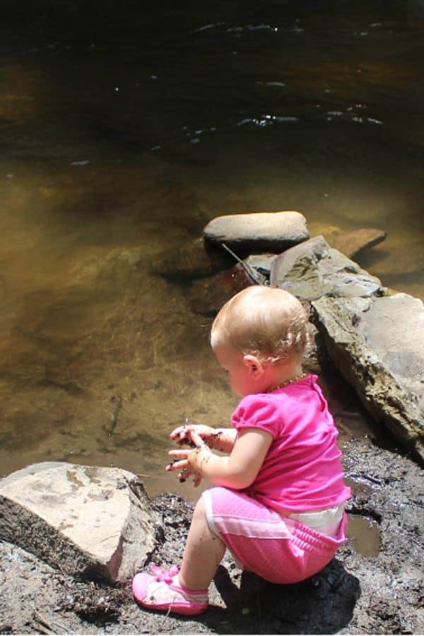 baby at Bald River Falls Tellico, TN