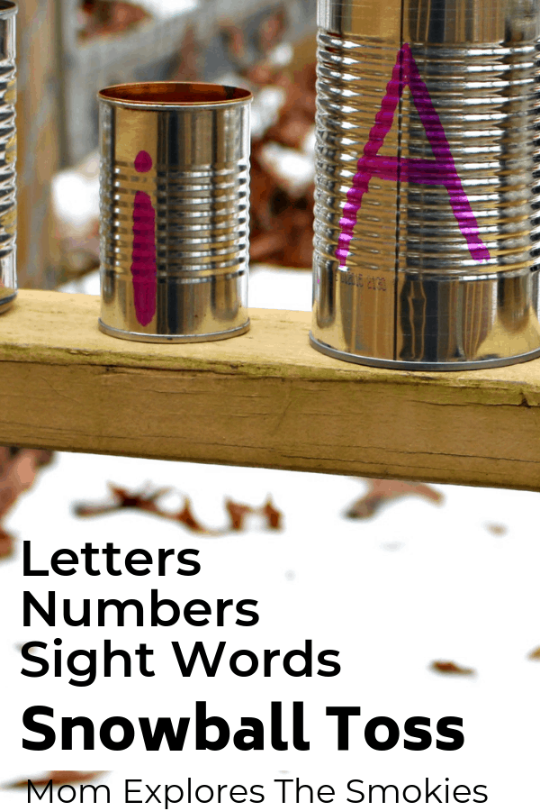 Letters, Numbers, Sight Words, Snowball Toss, Winter Game for Kids, Mom Explores The Smokies