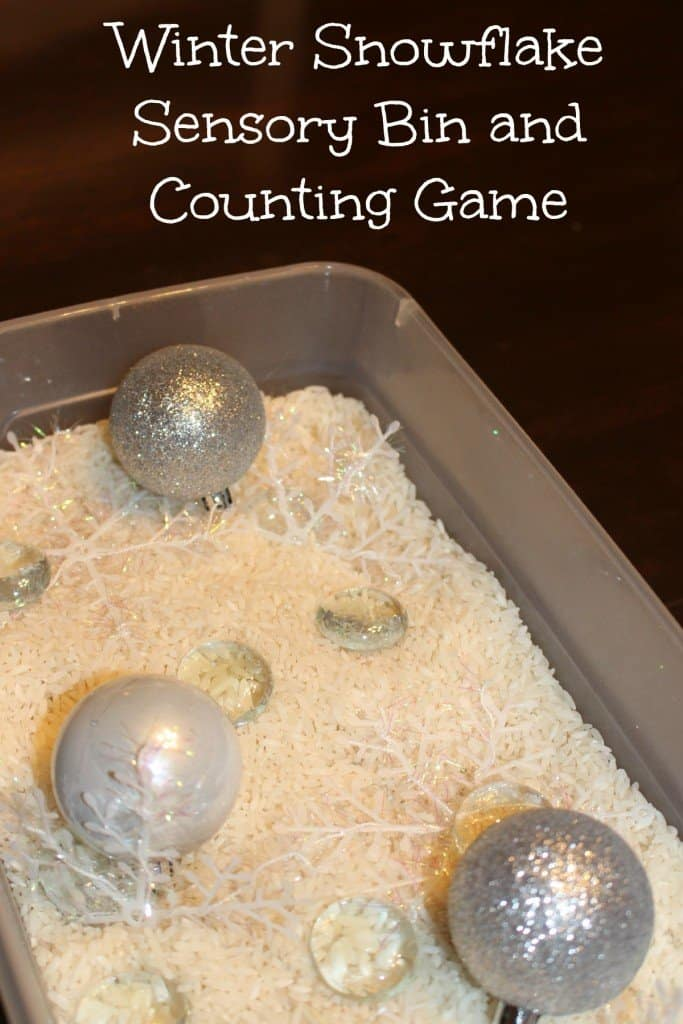 Winter Snowflake Sensory Bin and Counting Game kids activity Mom Explores the Smokies