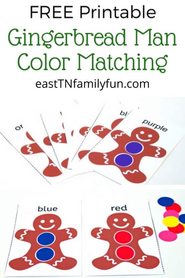 Gingerbread Man Color Matching Game for Toddlers