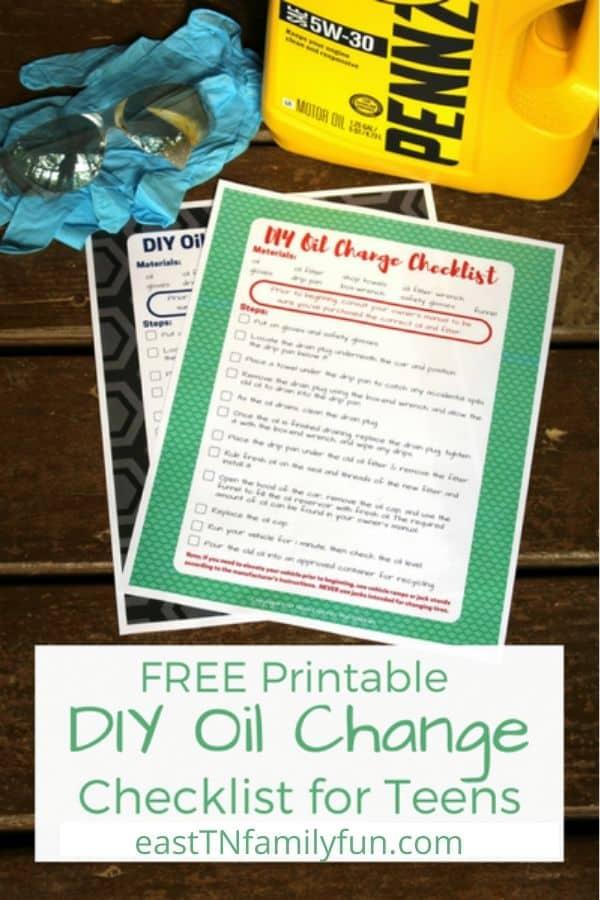 Printable Oil Change Check List for Teens