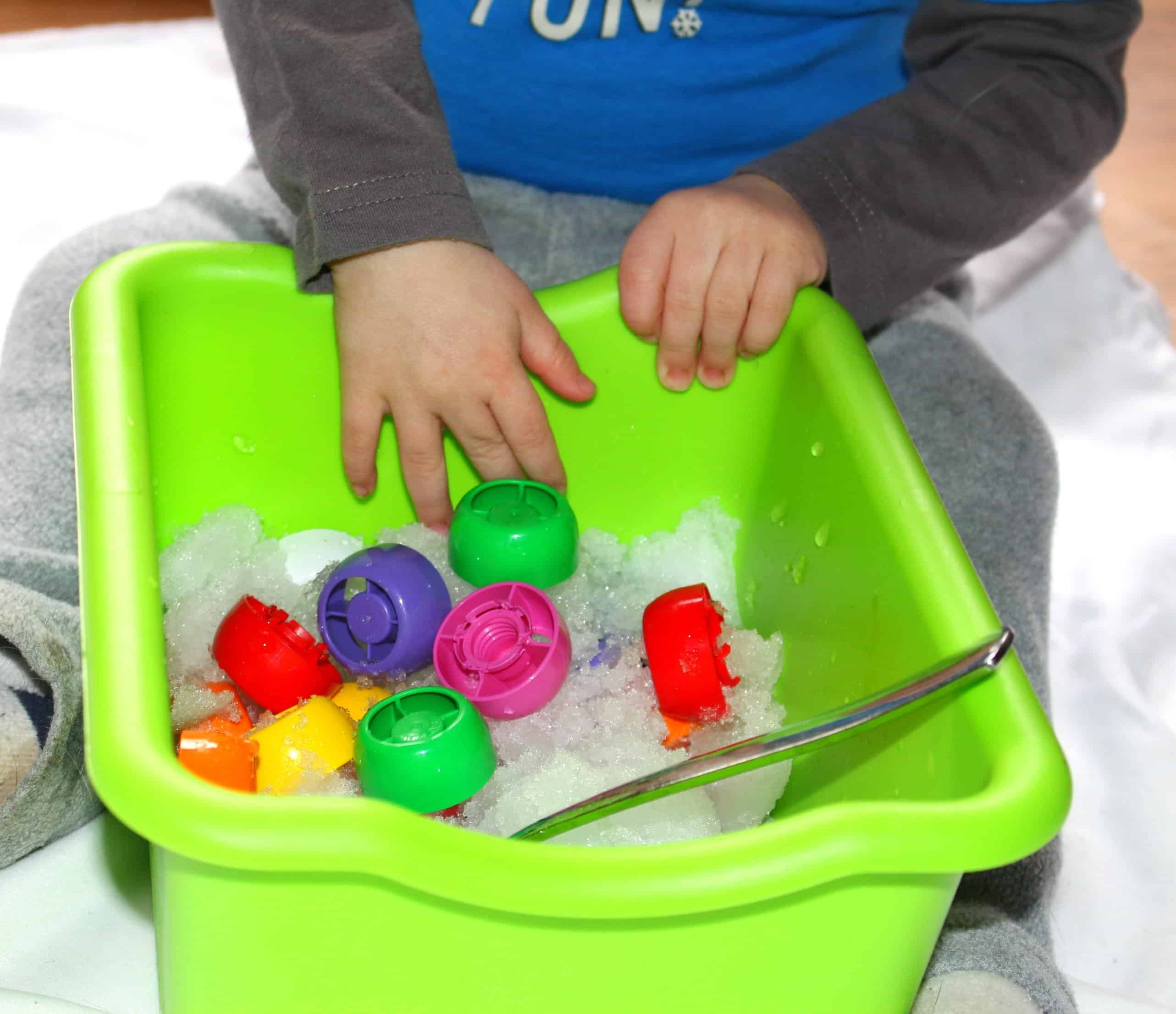 Digging for Colors: Snow Sensory Bin, Mom Explores The Smokies