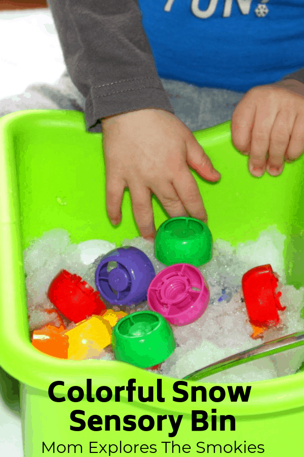 Snow Sensory Bin Learning Colors, Mom Explores The Smokies