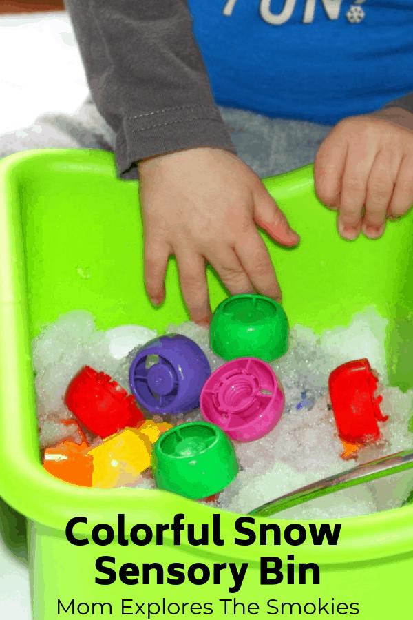 Snow Sensory Bin Learning Colors, Mom Explores The Smokies