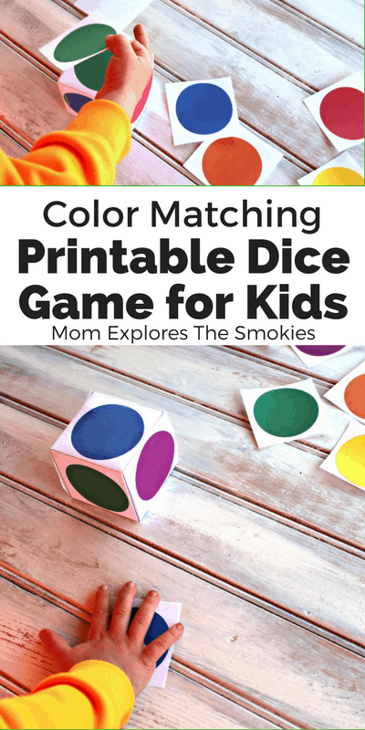 Color Matching Printable Dice Games for Kids, Mom Explores The Smokies