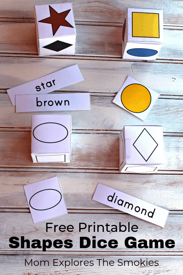 Shapes and colors printable dice game, Mom Explores The Smokies