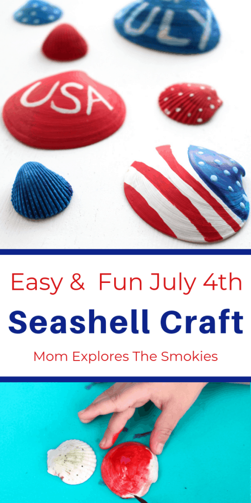 Discover an easy and fun painted July 4th seashell craft, great for kids and adults, Mom Explores The Smokis