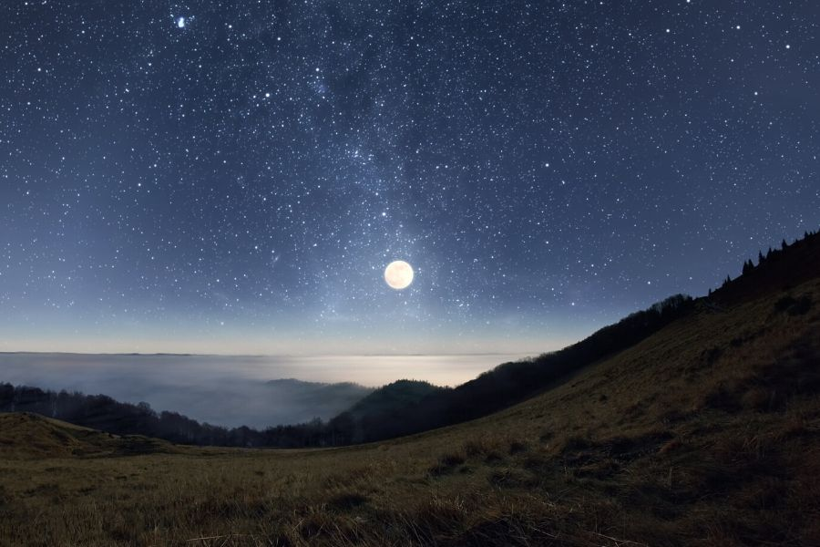 A starlit mountain sky illustrates that Stargazing is one of the best things to do in Great Smoky Mountains National Park