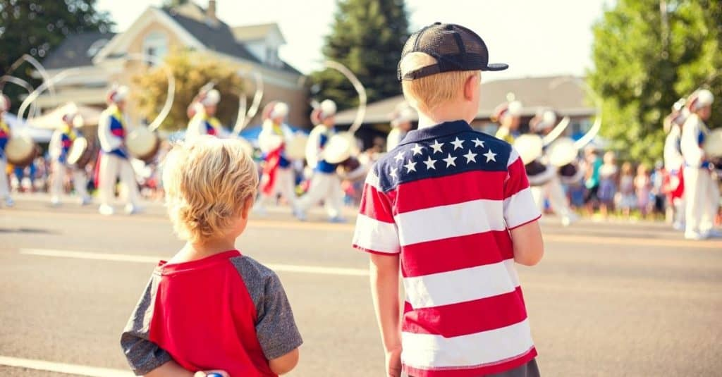 2 boys at Independence Parade Representing Chattanooga July 4th Events