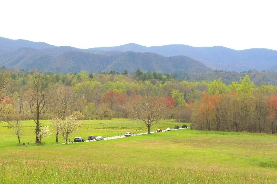 cars driving through the mountains in Cades Cove