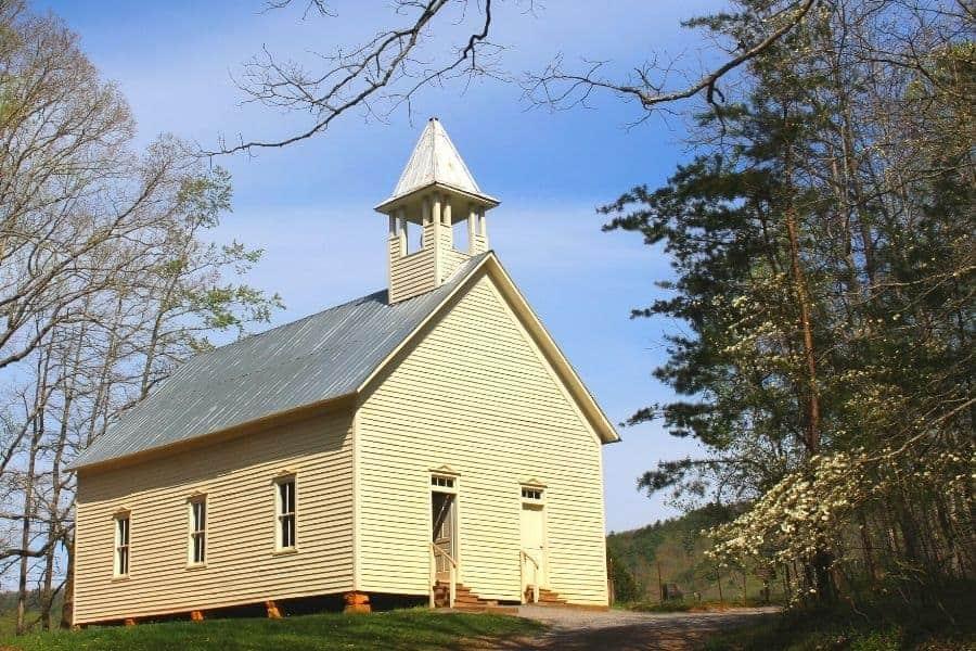 Historic Appalachian church with steeple