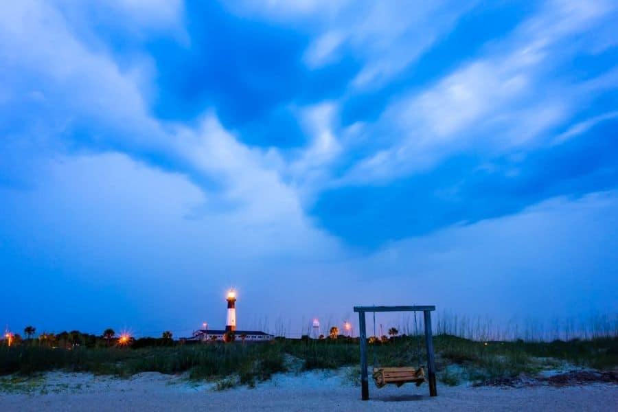 Tybee Island Beach Lighthouse at Dusk