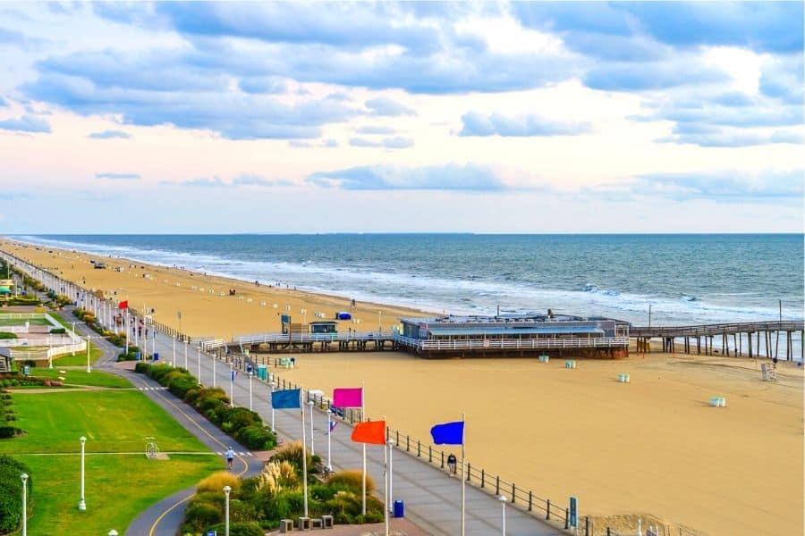 Boardwalk and Beach at Virginia Beach VA
