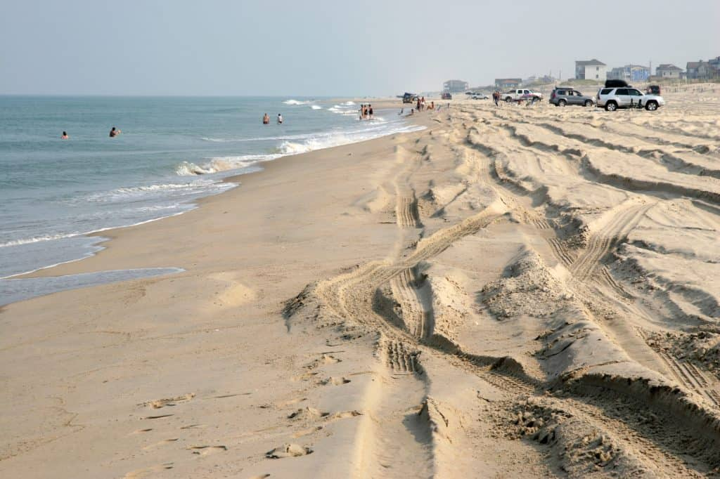 Cars Driving on the Beach in Outer Banks NC