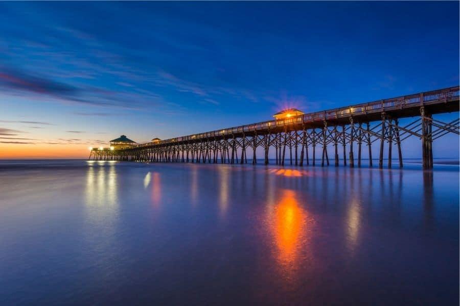 Twilight on Folly Beach SC the closest beach to Johnson City TN